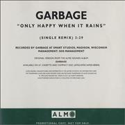 Garbage Only Happy When It Rains USA CD single Promo