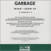 Garbage When I Grow Up USA CD single Promo