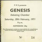 Click here for more info about 'Genesis - Debating Chamber Southampton 1971 Ticket Stub'