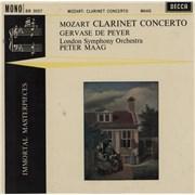 "Gervase De Peyer Mozart Clarinet Concerto UK 10"" vinyl"