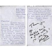 Click here for more info about 'Glen Matlock - Handwritten Glen Matlock Letter'