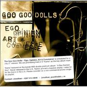 Click here for more info about 'Goo Goo Dolls - Ego, Opinion, Art & Commerce'