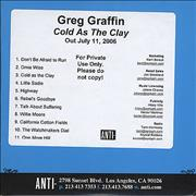Click here for more info about 'Greg Graffin - Cold As The Clay'