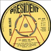Click here for more info about 'Gwen McCrae - It's Worth The Hurt - A Label'