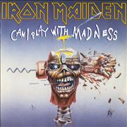 Click here for more info about 'Iron Maiden - Can I Play With Madness - White Label With Black Text'