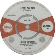 """Jackie Edwards I Feel So Bad UK 7"""" vinyl"""