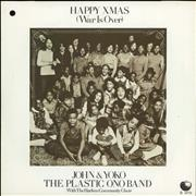 "John Lennon Happy Xmas (War Is Over) - 4prong + Sleeve UK 7"" vinyl"