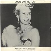 "Julie Covington Don't Cry For Me Argentina - Eva Peron picture sleeve UK 7"" vinyl"