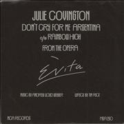 "Julie Covington Don't Cry For Me Argentina - P/S UK 7"" vinyl Promo"