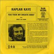 Click here for more info about 'Kaplan Kaye - You Took My Breath Away - Promo Sleeve'