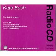 Kate Bush And So Is Love UK CD single Promo