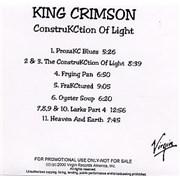King Crimson ConstruKCtion Of Light USA CD-R acetate Promo