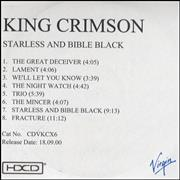 King Crimson Starless and Bible Black UK CD-R acetate Promo