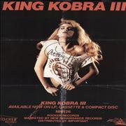 Click here for more info about 'King Kobra III Poster - Autographed'