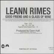 Click here for more info about 'Leann Rimes - Good Friend And A Glass Of Wine'