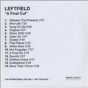 Click here for more info about 'Leftfield - A Final Cut'