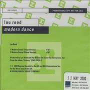 Click here for more info about 'Lou Reed - Modern Dance'