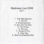 Madness Live 2006 UK CD-R acetate Promo