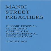 Click here for more info about 'Manic Street Preachers - Festivals - August 2001 Tour Itinerary'
