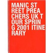 Manic Street Preachers UK Tour Spring 2001 UK Itinerary