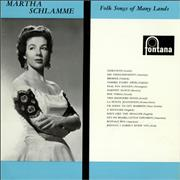 Martha Schlamme Folk Songs Of Many Lands UK vinyl LP