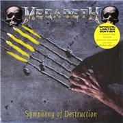 """Megadeth Symphony Of Destruction - Yellow Vinyl + Sleeve UK 7"""" vinyl"""