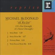 Click here for more info about 'Michael McDonald - All We Got [It's Not Enough, It's Never Enough]'