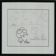 Click here for more info about 'Cartoon Character Artwork - Skiing/Autographed'