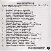 Mute Label Assume Nothing UK CD-R acetate Promo