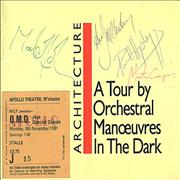 Click here for more info about 'Orchestral Manoeuvres In The Dark - 1981 Architecture & Morality Tour - Autographed!'