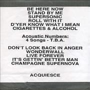 Click here for more info about 'Oasis - All Around The World USA & Canada 1998 Original Set List'