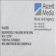 Click here for more info about 'Oasis - Definitely Maybe DVD EPK'