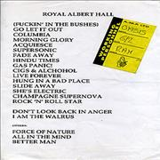 Click here for more info about 'Oasis - Royal Albert Hall Set List + Backstage Pass'