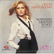 Click here for more info about 'Olivia Newton John - Hopelessly Devoted To You - Wide Centre Inj lbl + P/S'