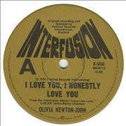 Click here for more info about 'Olivia Newton John - I Love You, I Honestly Love You - Tan Label'