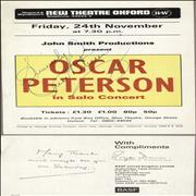 Click here for more info about 'Oscar Peterson - 24th November - New Theatre Oxford - Autographed'