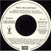 "Paul McCartney and Wings Distractions Spain 7"" vinyl Promo"