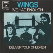"""Paul McCartney and Wings I've Had Enough Netherlands 7"""" vinyl"""