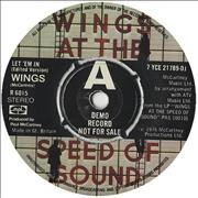 "Paul McCartney and Wings Let 'Em In - A Label UK 7"" vinyl Promo"