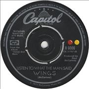 "Paul McCartney and Wings Listen To What The Man Said UK 7"" vinyl"