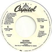 "Queen Breakthru USA 7"" vinyl Promo"