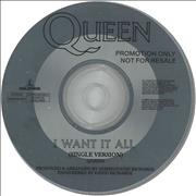 Queen I Want It All UK CD single Promo