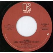 "Queen Need Your Loving Tonight USA 7"" vinyl"