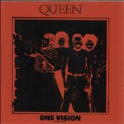 """Queen One Vision - Red P.V.C. Sleeve UK 12"""" vinyl"""