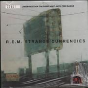 Click here for more info about 'REM - Strange Currencies - Neon Green Vinyl + Badge - Sealed'