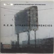 Click here for more info about 'REM - Strange Currencies - Neon Green Vinyl + Badge'