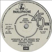 "Ringo Starr Interview By Bob Mercer With Ringo For The Salesmen And Uxbridge Road UK 7"" vinyl Promo"