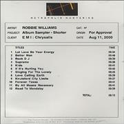 Click here for more info about 'Robbie Williams - Album Sampler - Shorter'
