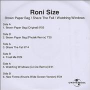 Click here for more info about 'Roni Size Reprazent - Brown Paper Bag/Share The Fall/Watching Windows'