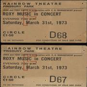 Click here for more info about 'Roxy Music - Pair Of Ticket Stubs'